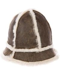 UGG - Suede Shearling-trimmed Hat Beige - Lyst