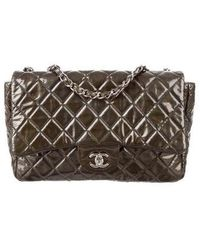 6ecb038f0ae092 Chanel - Quilted Classic Jumbo Single Flap Bag Olive - Lyst