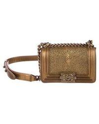 e3e151f1c237 Chanel - 2015 Mini Galuchat Boy Bag Gold - Lyst