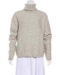 Proenza Schouler - Wool Textured Turtleneck Sweater Grey - Lyst