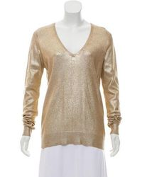 Equipment - Long Sleeve Knit Sweater Gold - Lyst
