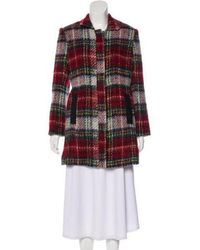 L'Agence - Vegan Leather-trimmed Plaid Coat - Lyst