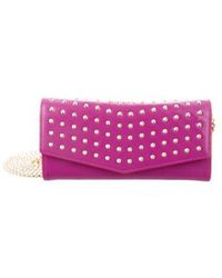 B Brian Atwood - Blake Studded Wallet On Chain Magenta - Lyst