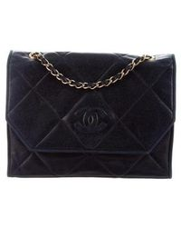 94064cfcf51b81 Lyst - Chanel Vintage Velvet Cc Shoulder Bag Black in Metallic