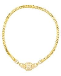 Cartier - Diamond Wheat Link Choker Necklace Yellow - Lyst