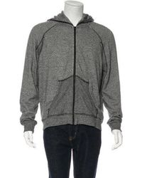 T By Alexander Wang - Leather-trimmed Zip-up Sweatshirt Grey - Lyst