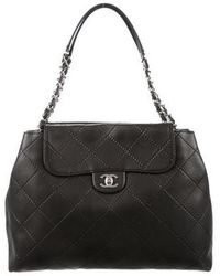 Chanel - Lambskin Double Stitch Shoulder Bag Black - Lyst