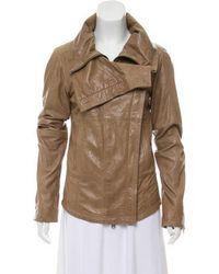 Nicholas K - Leather Double Breasted Biker Jacket - Lyst
