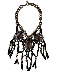 Lanvin - Crystal And Wood Jewel Choker Necklace W/ Tags Brass - Lyst