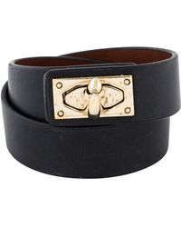 Givenchy - Shark Lock Leather Wrap Bracelet Gold - Lyst