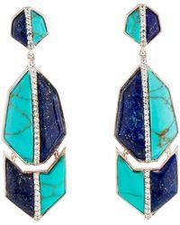 Kara Ross - Turquoise, Lapis & White Sapphire Drop Earrings Silver - Lyst