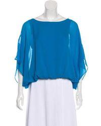 Alice + Olivia - Silk Kimono Sleeve Blouse Turquoise - Lyst