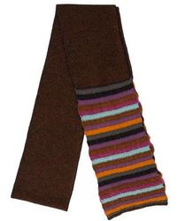 M Missoni - Striped Rectangle Scarf Brown - Lyst