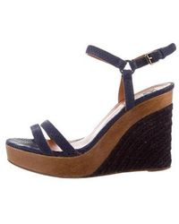 Lanvin - Embossed Wedge Sandals - Lyst