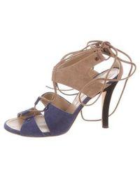 6d0502f2de4 Lyst - Missguided Eyelet Detail Caged Heeled Gladiator Sandals Khaki ...
