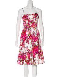 David Meister - Pleated Knee-length Dress Multicolor - Lyst