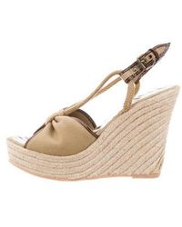 Boutique Moschino - Canvas Espadrille Wedges Brown - Lyst