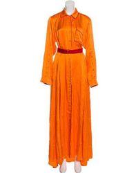 Adam Selman - Silk Maxi Dress W/ Tags Orange - Lyst