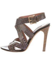 Derek Lam - Embossed Ankle Strap Sandals Grey - Lyst