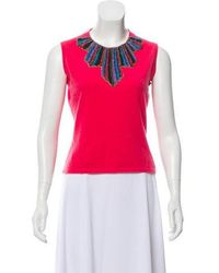a28c5486d9183 Matthew Williamson - Cashmere Embellished Top Fuchsia - Lyst