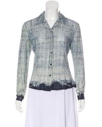 Roberto Cavalli - Printed Button-up Top Blue - Lyst