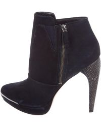 Hervé Léger - Suede Ankle Boots Navy - Lyst