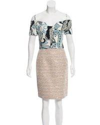 Michael van der Ham - Off-the-shoulder Contrast Dress Navy - Lyst