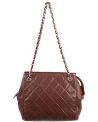 Lyst - Chanel Leather Drawstring Bag Black in Metallic 923cef7d41369