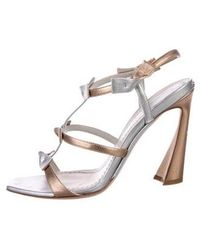 46c913ba2a3 Dior - Bow-accented Leather Sandals Silver - Lyst