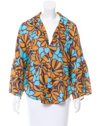 TOME - Floral Print Bell Sleeve Top W/ Tags Multicolor - Lyst