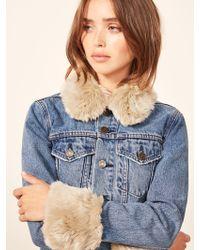 Reformation - Aussie Faux Fur Trim Denim Jacket - Lyst