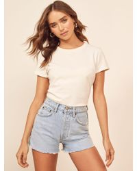 Reformation - Dixie High Rise Jean Short - Lyst