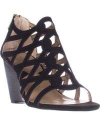 Adrienne Vittadini - Alby Caged Wedge Sandals, Black - Lyst