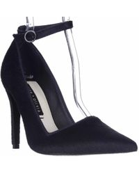 Alice + Olivia - Alice And Olivia Makayla Pointed Toe Ankle Strap Heels - Navy - Lyst