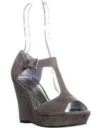 Rampage - Cooler Peep Toe To Strap Wedge Sandals, Grey - Lyst