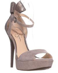 08f584dbc881 Lyst - Jessica Simpson Baani Sparkle Bow Heel Dress Platform Pumps ...