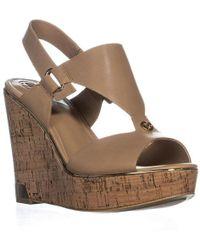 Guess - Hulda Wedge Peep Toe Sandals - Lyst