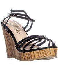 Callisto - Brush Strappy Platform Wedge Sandals - Lyst