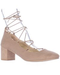 Wanted - Shoes Abby Lace Up Ankle Tie Chunky Heel Court Shoes - Lyst