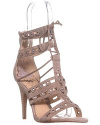 f2c643a5804b Vince Camuto - Kazie Studded Lace Up Heeled Sandals - Lyst