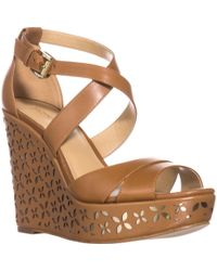 a09d11fe544e Lyst - Michael kors Collection Cate Ankle Strap Platform Cork Wedge ...