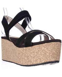 70c2a2d93f60 DKNY - Dnky Franca Cork Platform Wedge Sandals - Black - Lyst