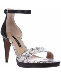 French Connection - Nata Ankle Strap Sandals - Black/white/black - Lyst