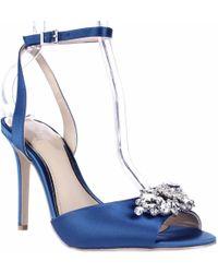 Badgley Mischka - Jewel Hayden Jeweled Peep Toe Ankle Strap Dress Sandals - Blue Satin - Lyst
