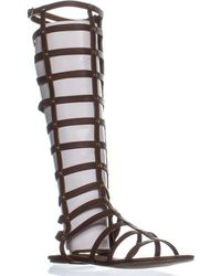 43d451833a8e Lyst - Michael Kors Birdie Tall Leather Gladiator Sandals in Brown