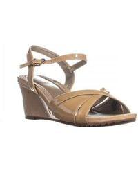 Easy Spirit - Laralee Peep Toe Ankle Strap Wedge Sandals, Medium Taupe - Lyst