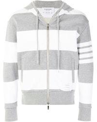 Thom Browne - Engineered Rugby Stripe Drop-shoulder Zip-up Jersey Hoodie - Lyst