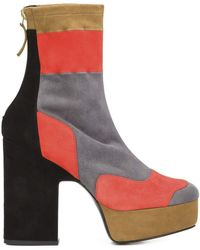 Pierre Hardy | Ziggy Patchwork Stretch-suede Platform Ankle Boots | Lyst