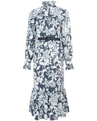 ALEXACHUNG - Printed Belted Dress - Lyst