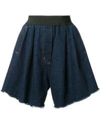 Natasha Zinko - Blue Wide Denim Shorts - Lyst